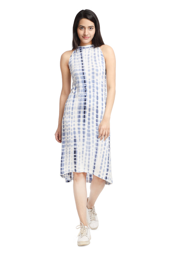 White & Blue Halter Neck Dress