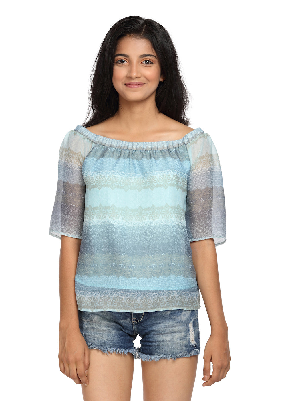 Blue Printed Georgette Bardot Top On/Off Shoulder - GENZEE
