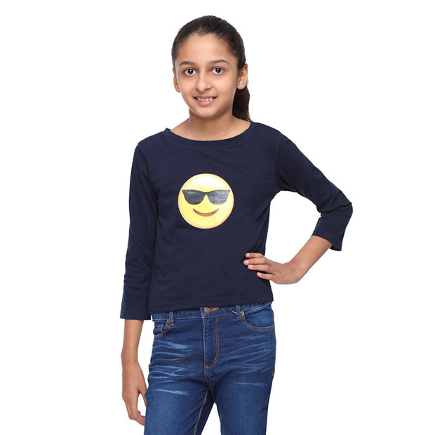 Navy Blue Knit Crop Tee   (Cool Emoji) - GENZEE