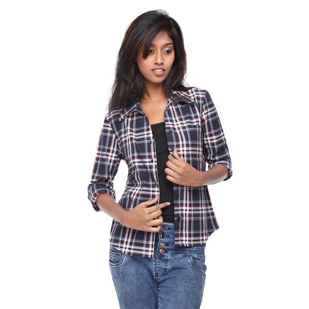 Navy Blue Check Shirt - GENZEE