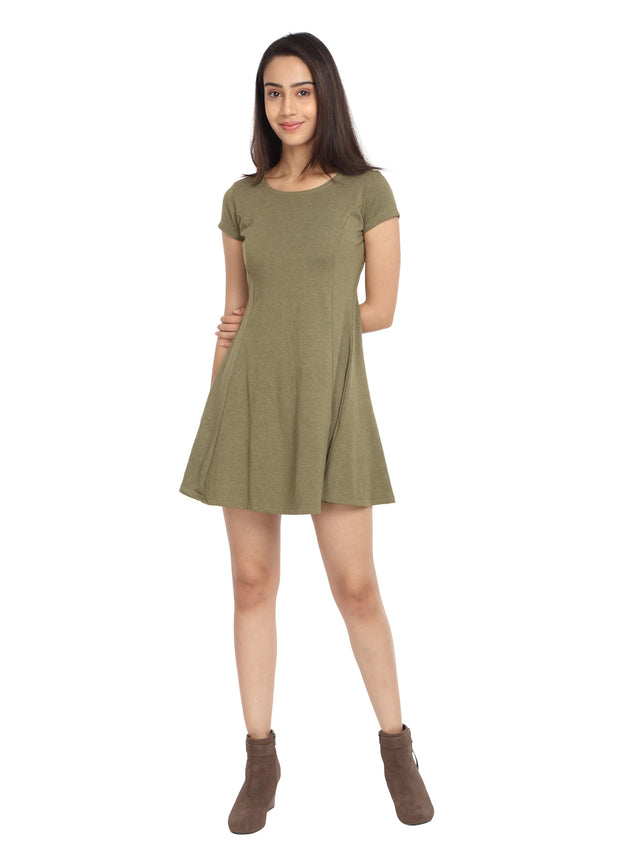 Melange Olive Short Knit Dress - GENZEE