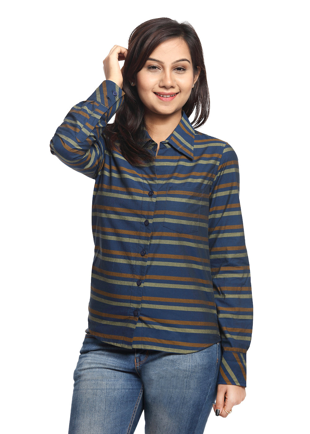 Navy Blue Striped Shirt - GENZEE