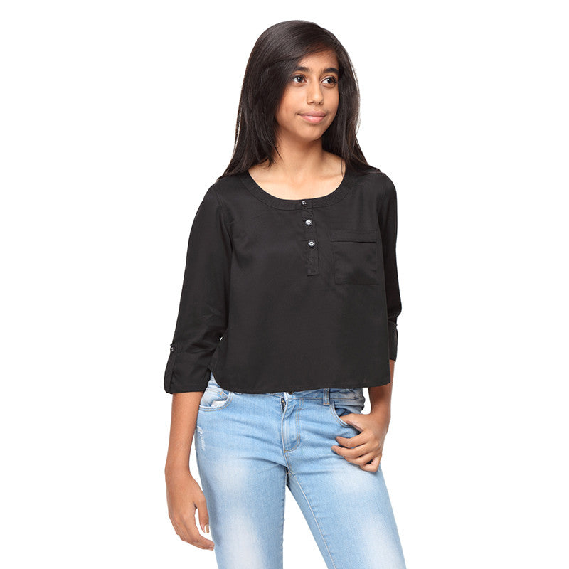 Black Rayon Top for girls
