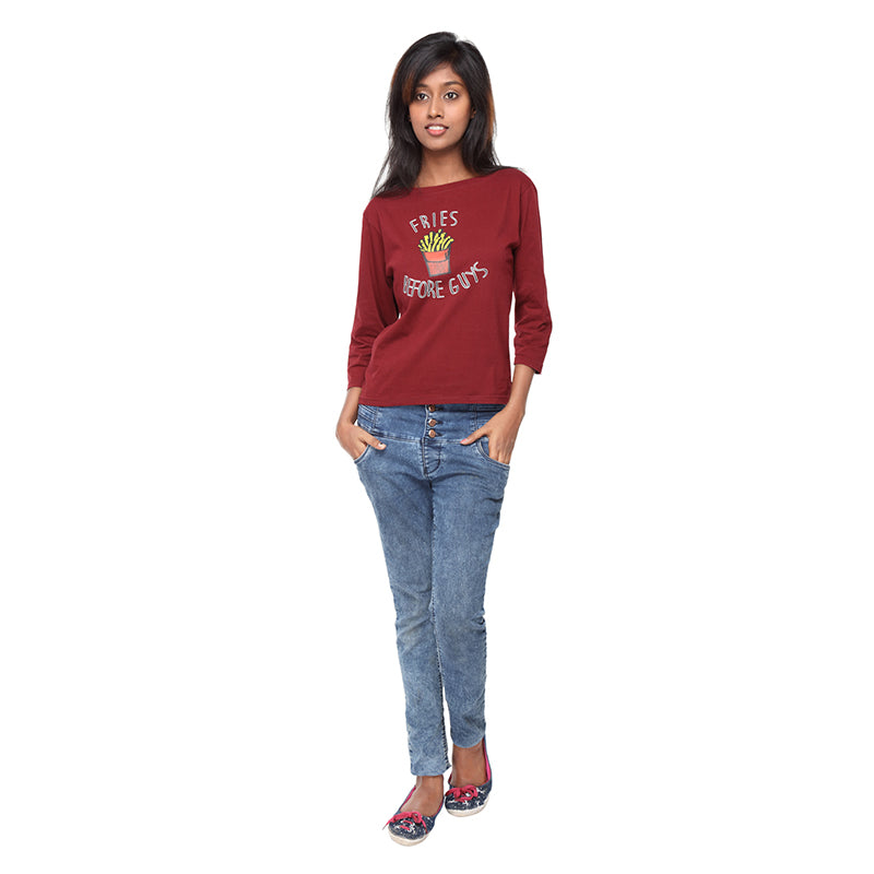 Maroon Long Tees , Fries Before Guys - GENZEE