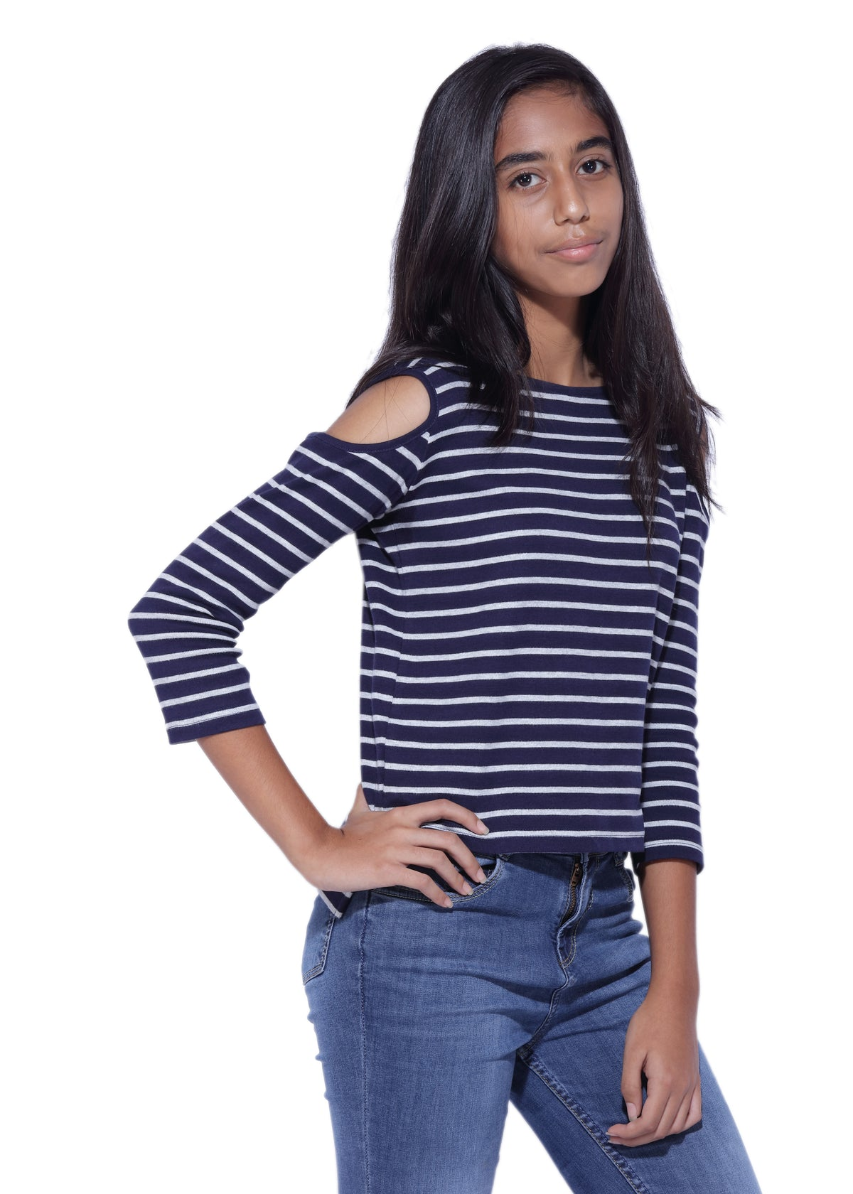 Navy Blue Cold Shoulder Top - GENZEE