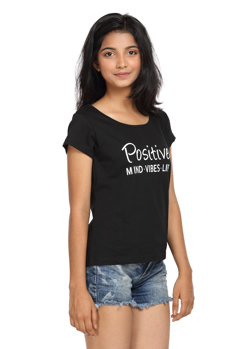 Printed T-shirt Black Color with Positive Life Print - GENZEE
