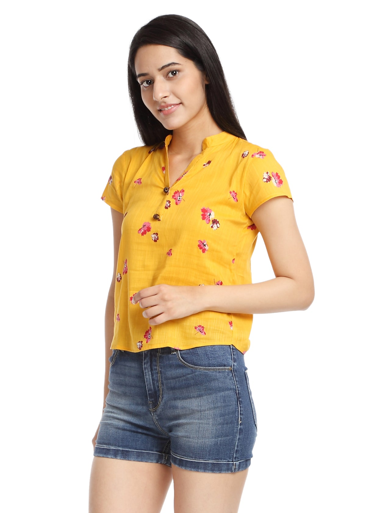 Yellow Print Cotton Top