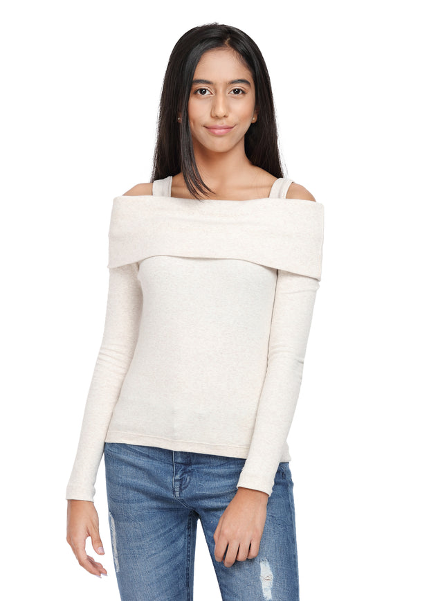 Fold-over Top Ribbed Off White On/Off Shoulder with Detachable Straps - GENZEE