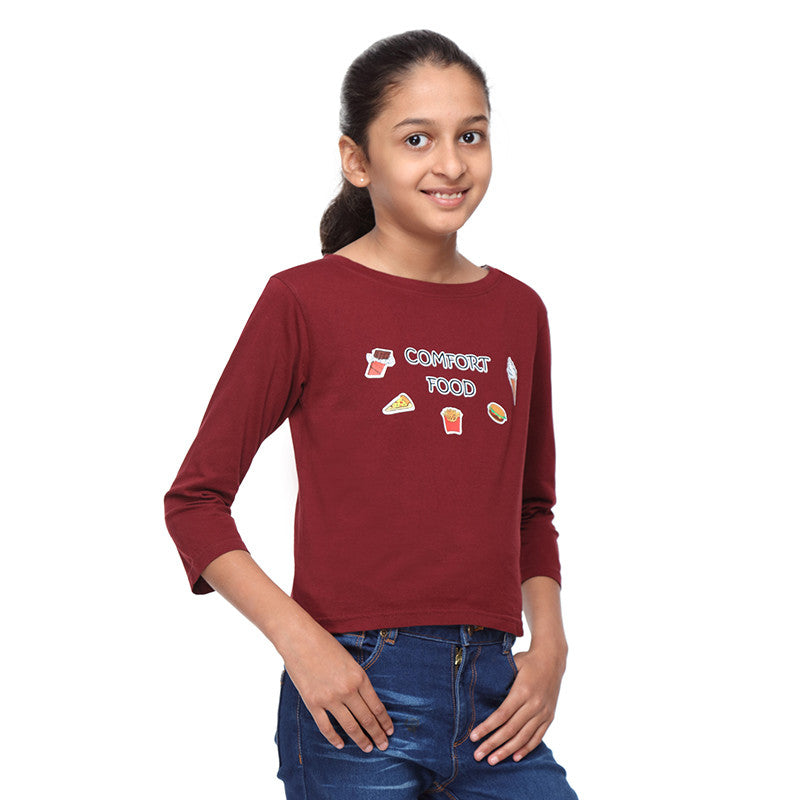 Maroon Crop Tee with Comfort Food Print - GENZEE