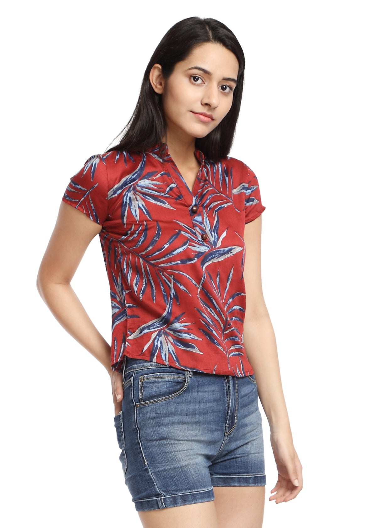 Red Print Cotton Top