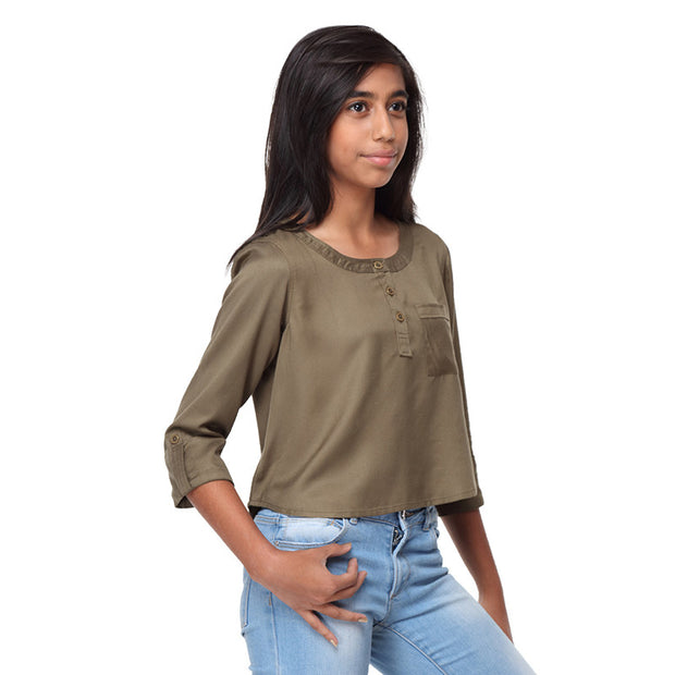 Olive Green Rayon Crop Top - GENZEE