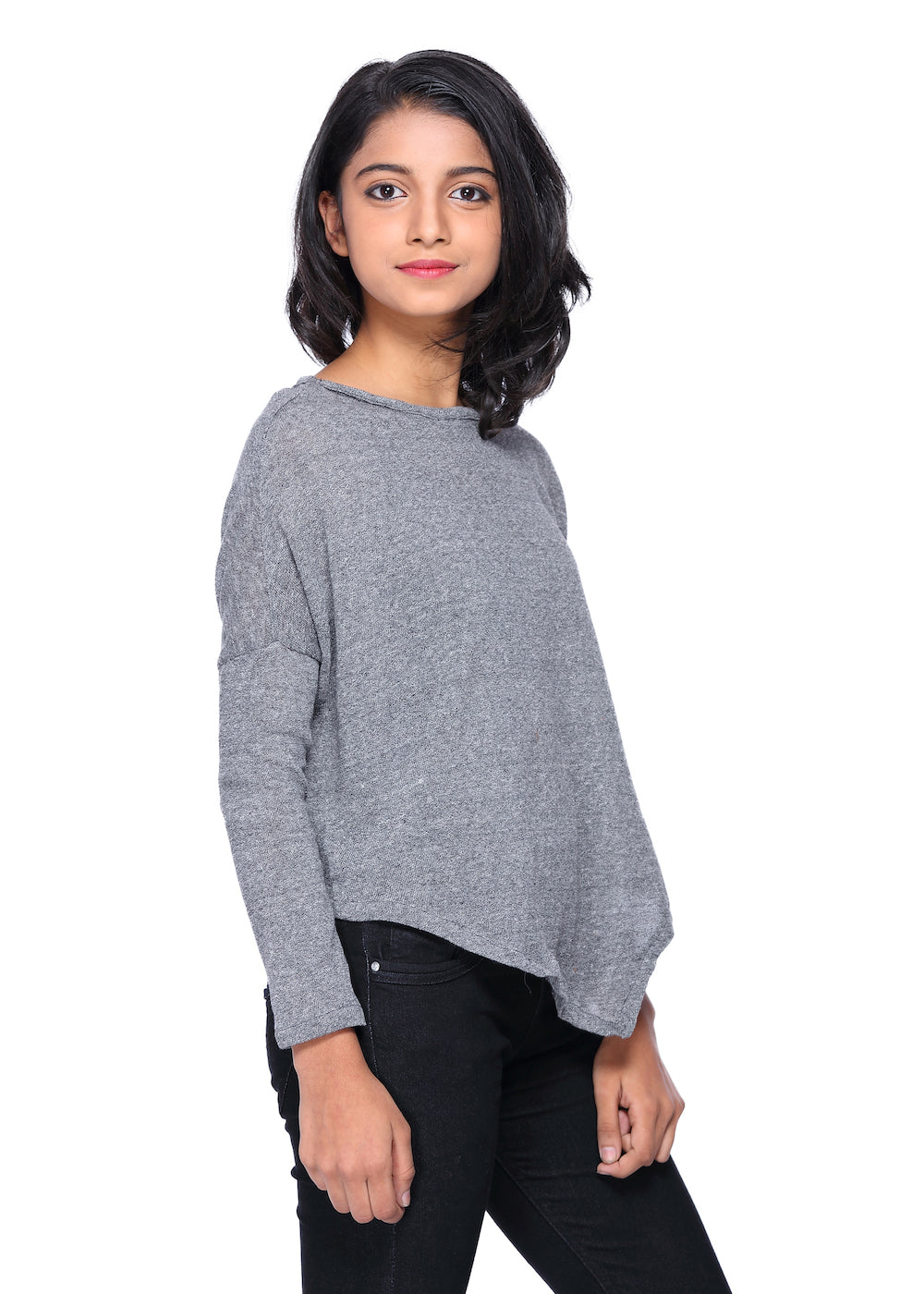 Grey Knit Poncho Top - GENZEE