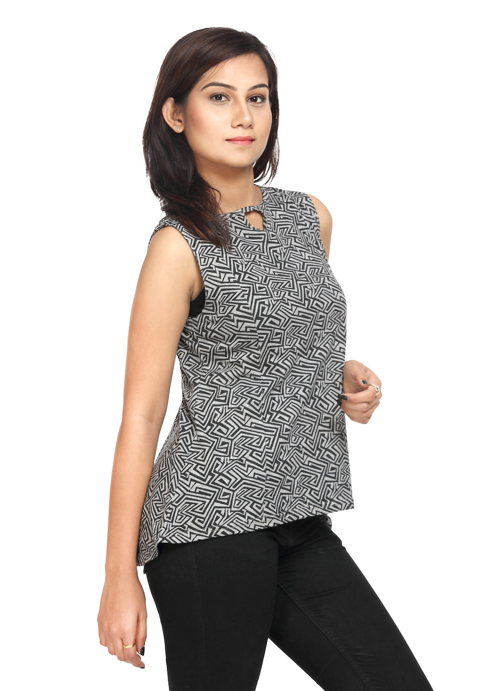 Grey Knit Sleeveless Top Black Print - GENZEE