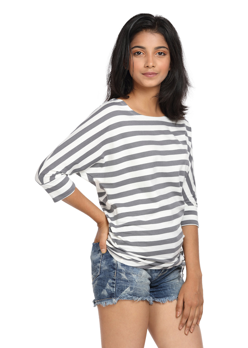 Striped Knit Top with a Knot Grey & White Boat Neck - GENZEE