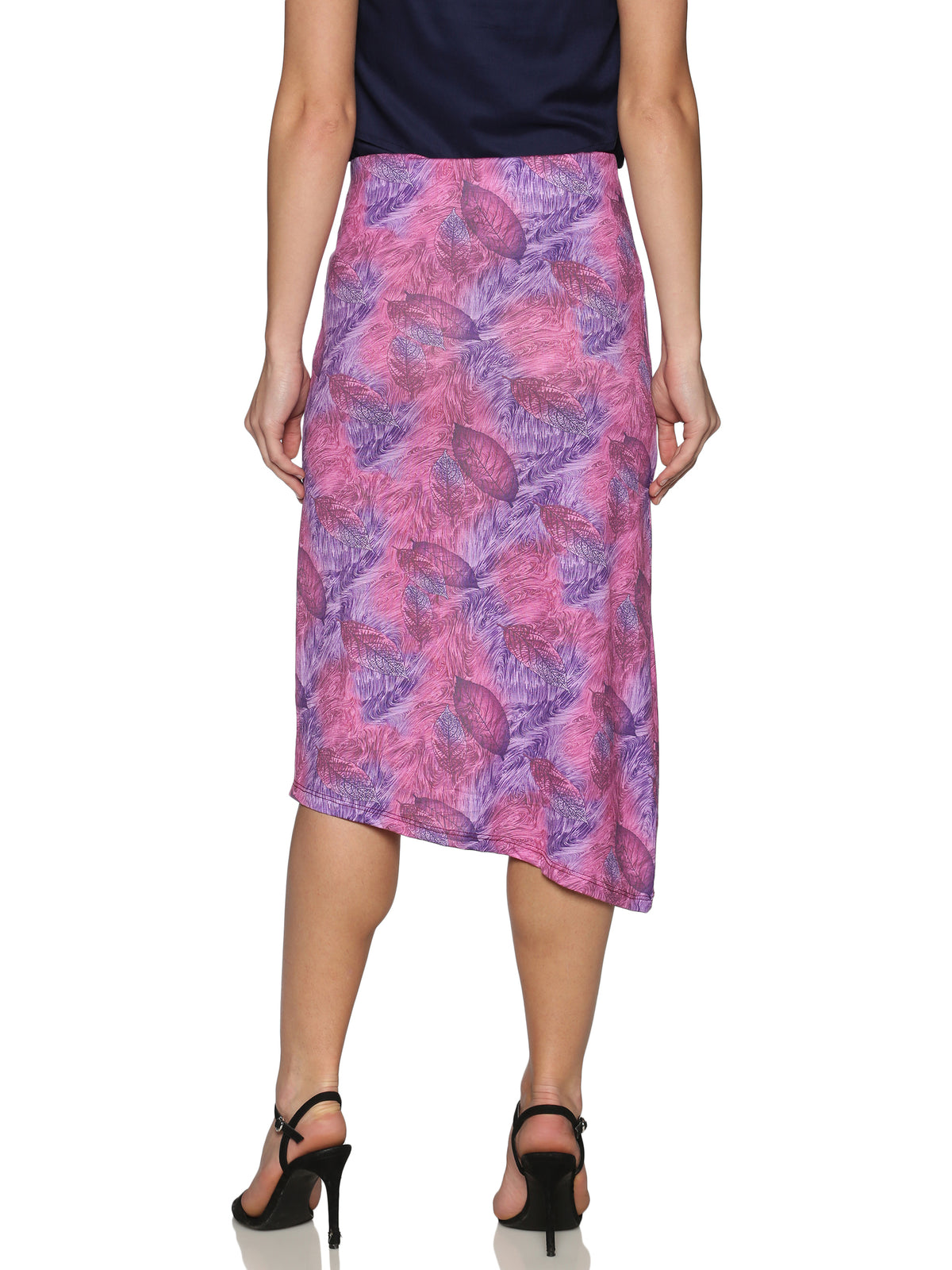Pink Up & Down Hem Viscose Skirt