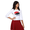White Crop Top with Red Abstract Print