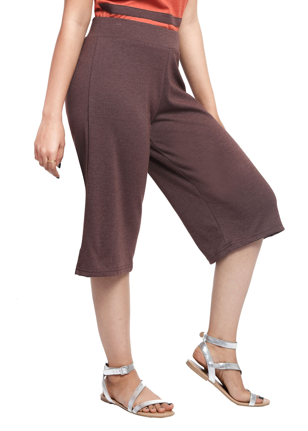 Brown Knit Culottes - GENZEE