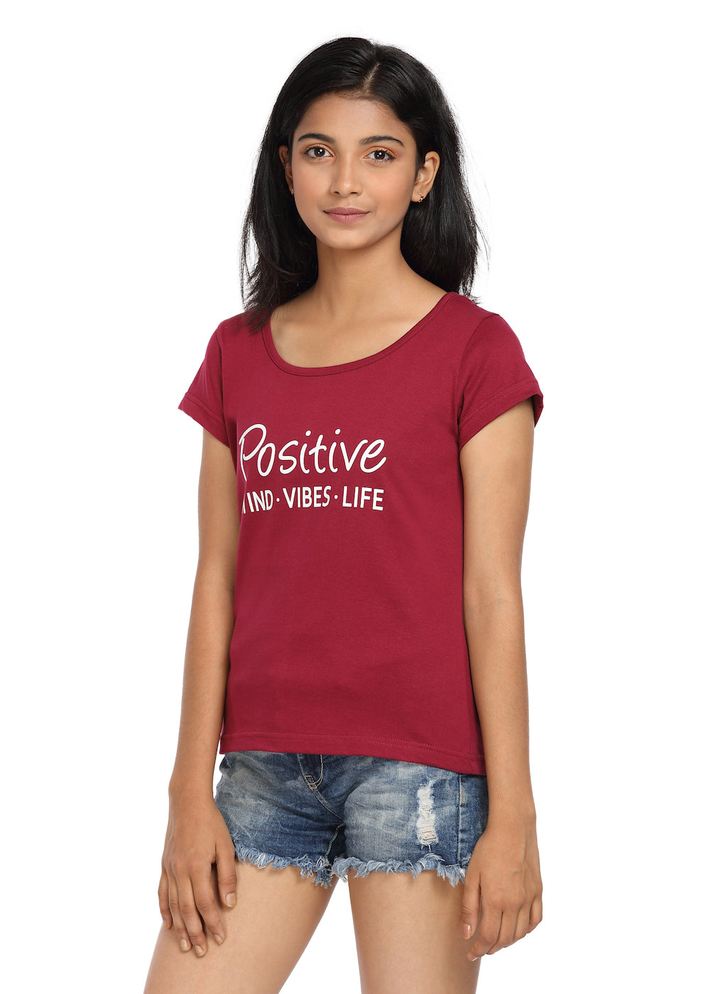 Printed T-shirt Wine Color with Positive Life Print - GENZEE