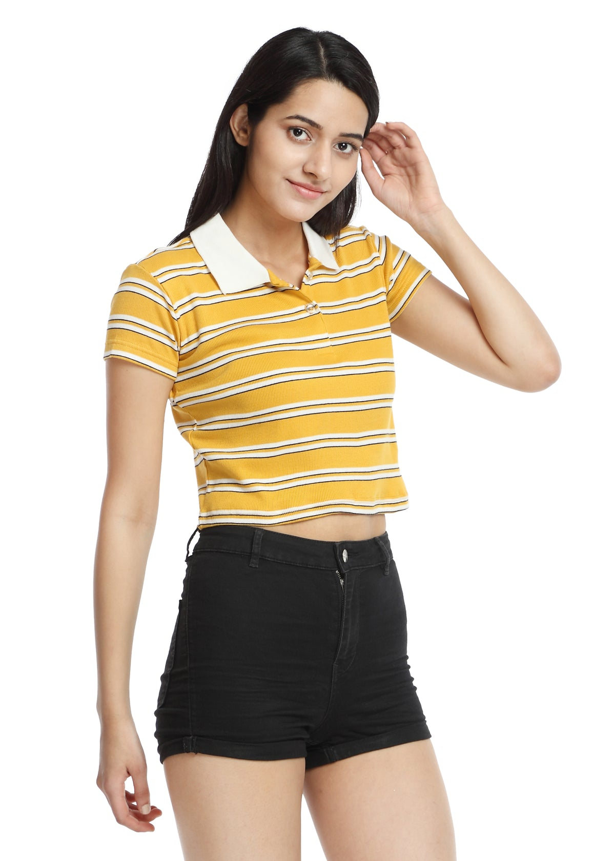 Crop Polo T-shirt yellow&white striped