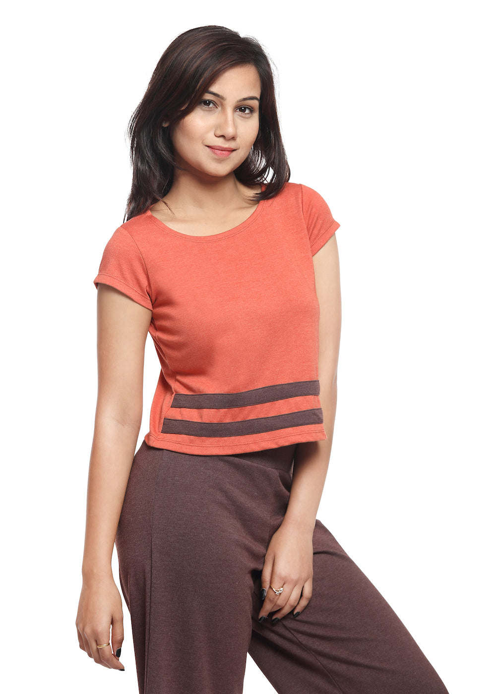 Orange Crop Top with Brown Stripes - GENZEE