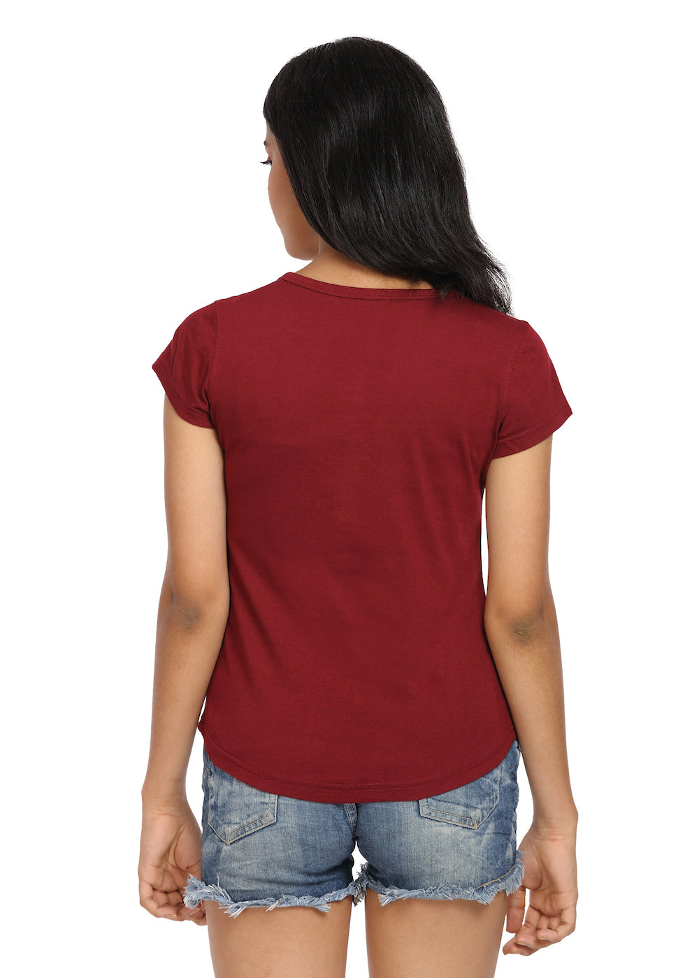 Maroon Knit Half Sleeves Round Neck Top with Buttons - GENZEE