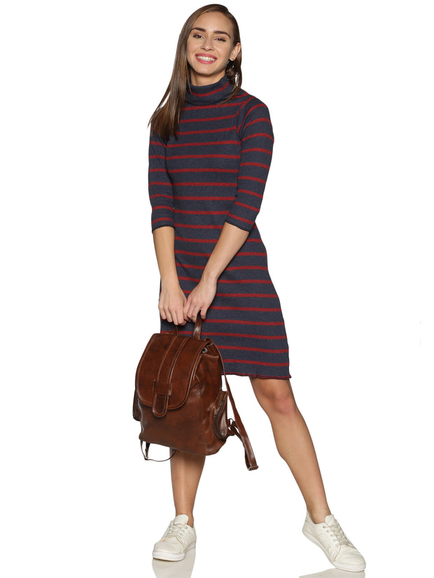 Ribbed Knit High Neck Dress in Steel Grey and Red Stripes