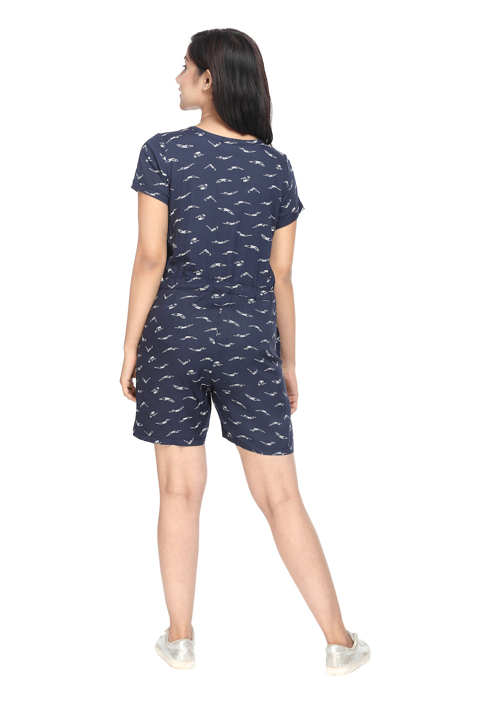 Navy Blue Woven Jumpsuit - GENZEE