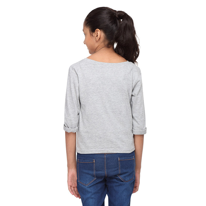 Grey Knit Crop Tee   (Cool Emoji) - GENZEE