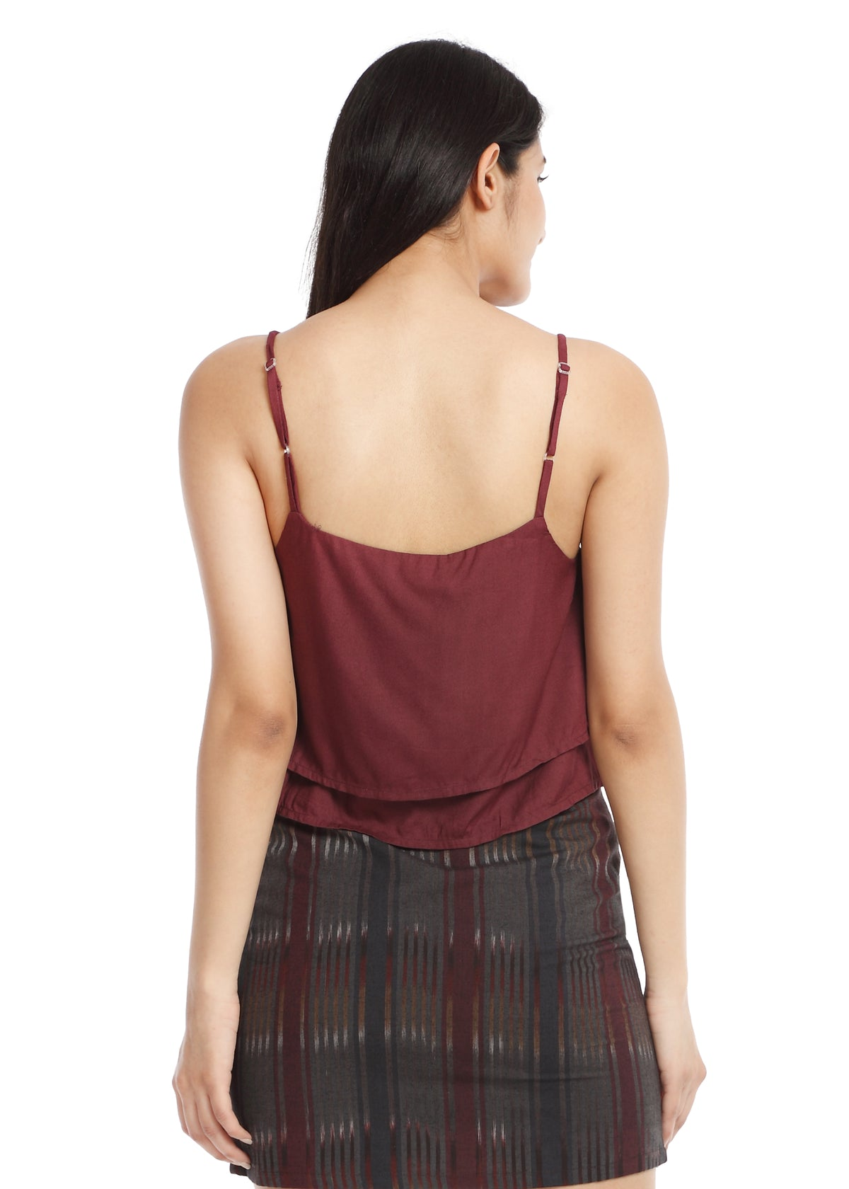 Layered crop top Maroon