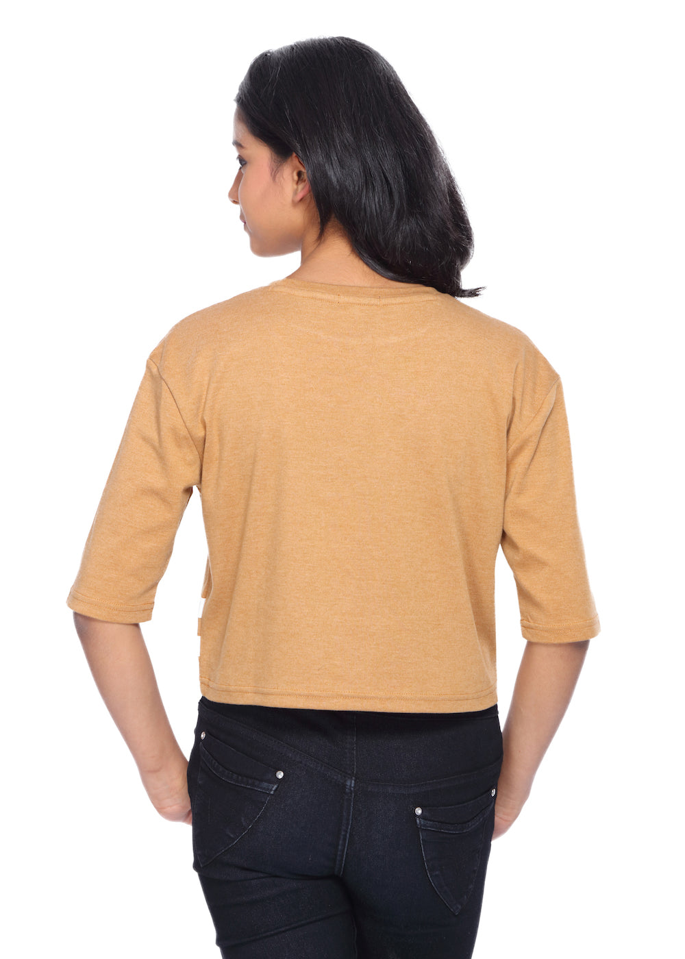 Mustard Loose Fit Crop Top - GENZEE