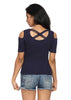 Half Sleeves Ribbed Cold Shoulder Navy Blue Top with a Cross Back - GENZEE