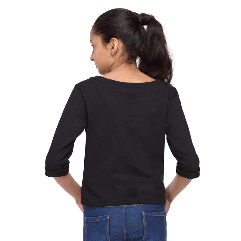 Black Crop Tee with Comfort Food Print - GENZEE