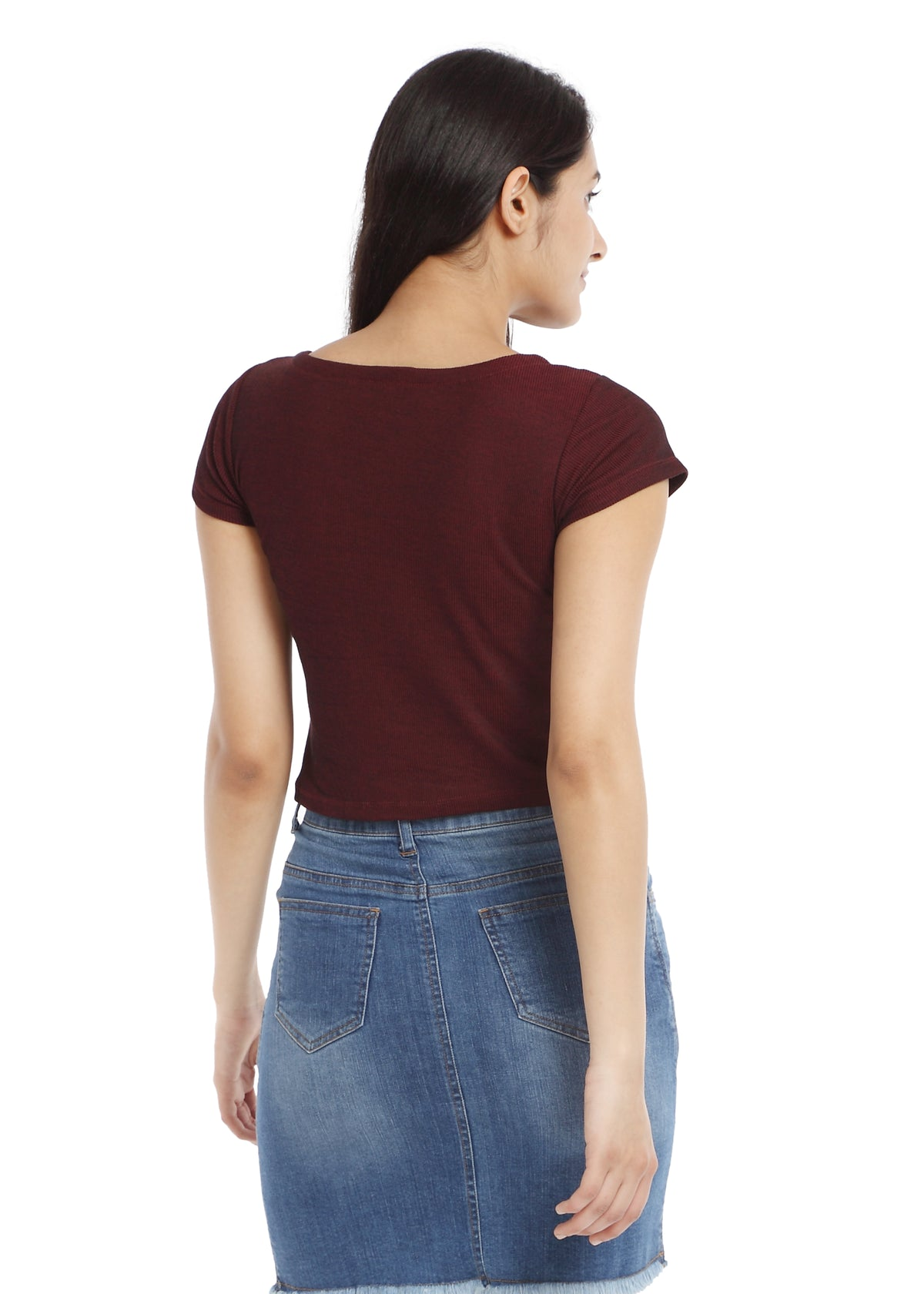 Maroon Ribbed knit crop top with buttons