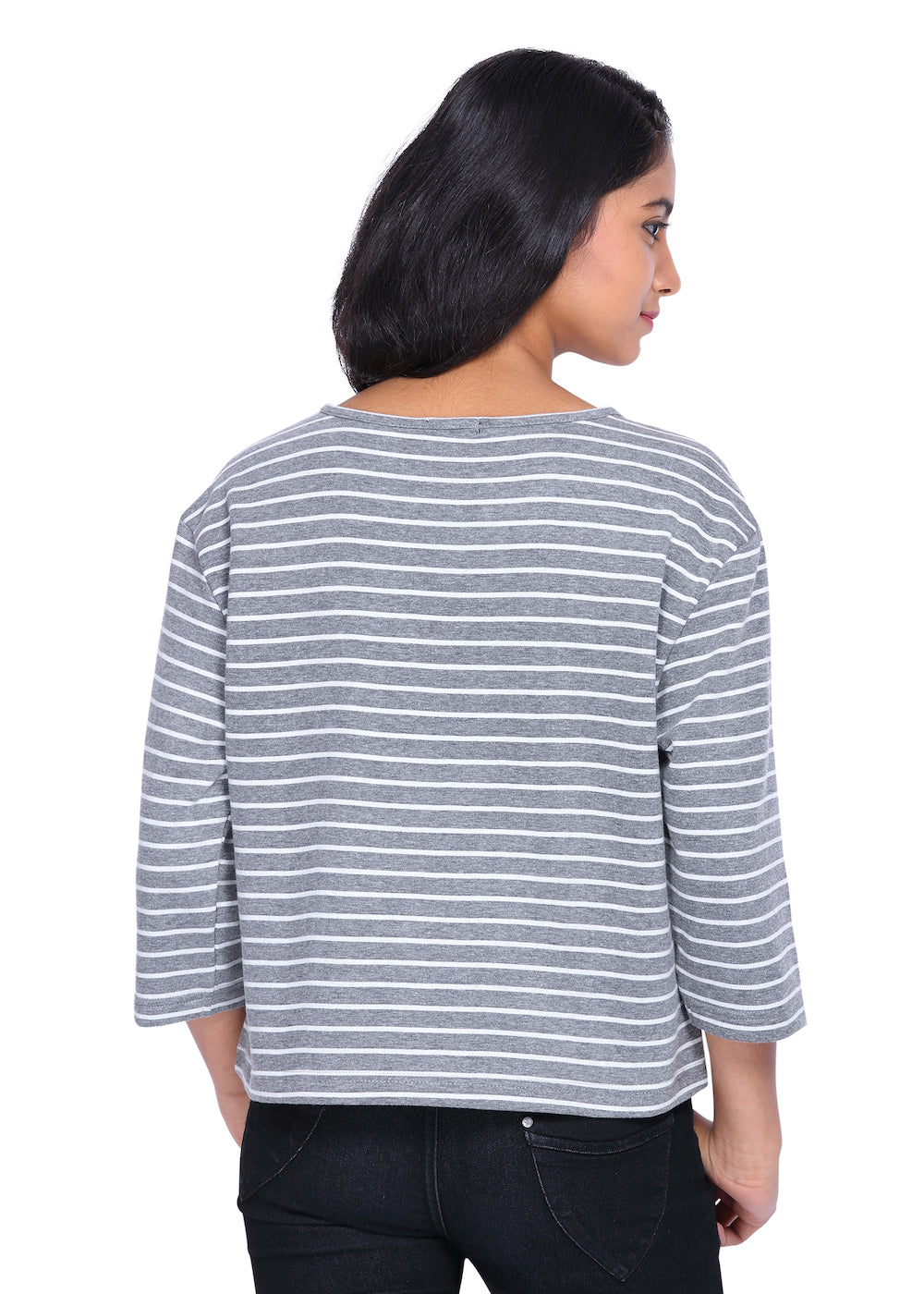 Grey & White Stripes fleece crop top - GENZEE