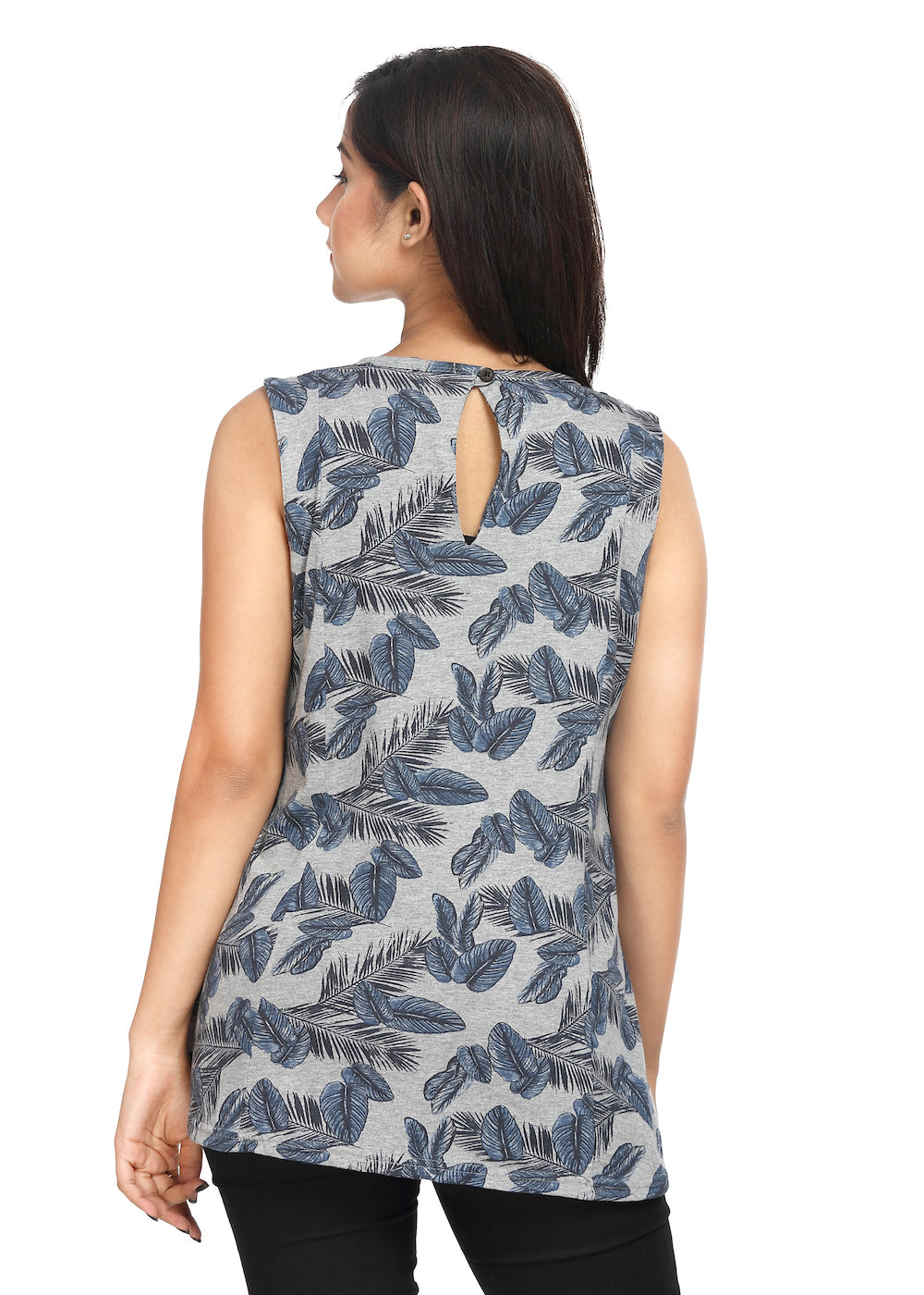 Grey Knit Sleeveless Top Blue Print - GENZEE