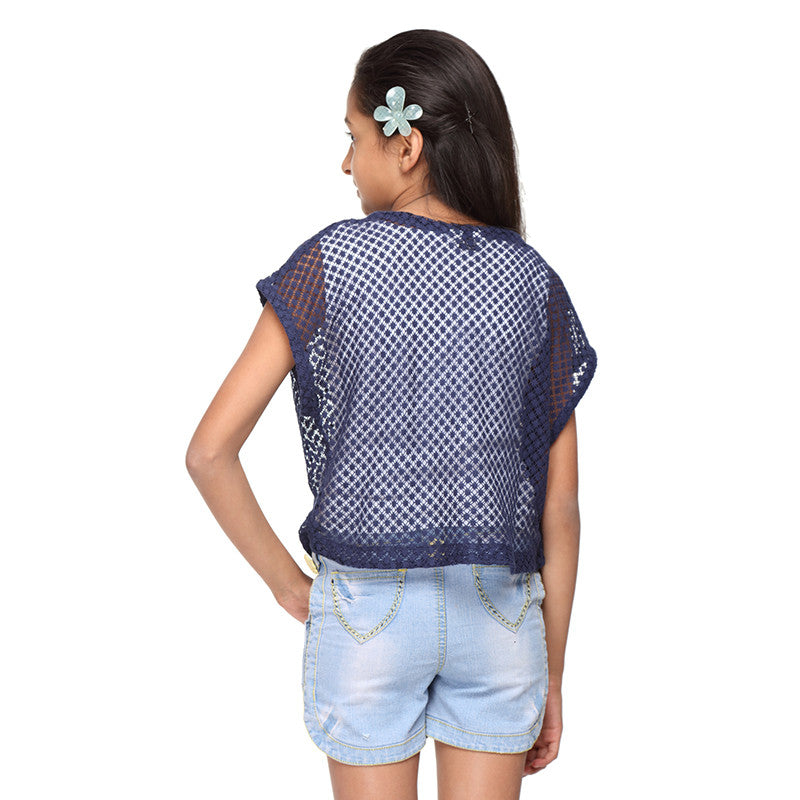 Blue Cotton Net Overlay Crop Top - GENZEE