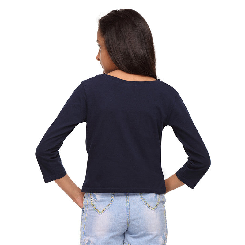 Navy Blue Knit Crop Tee   (Stellar) - GENZEE