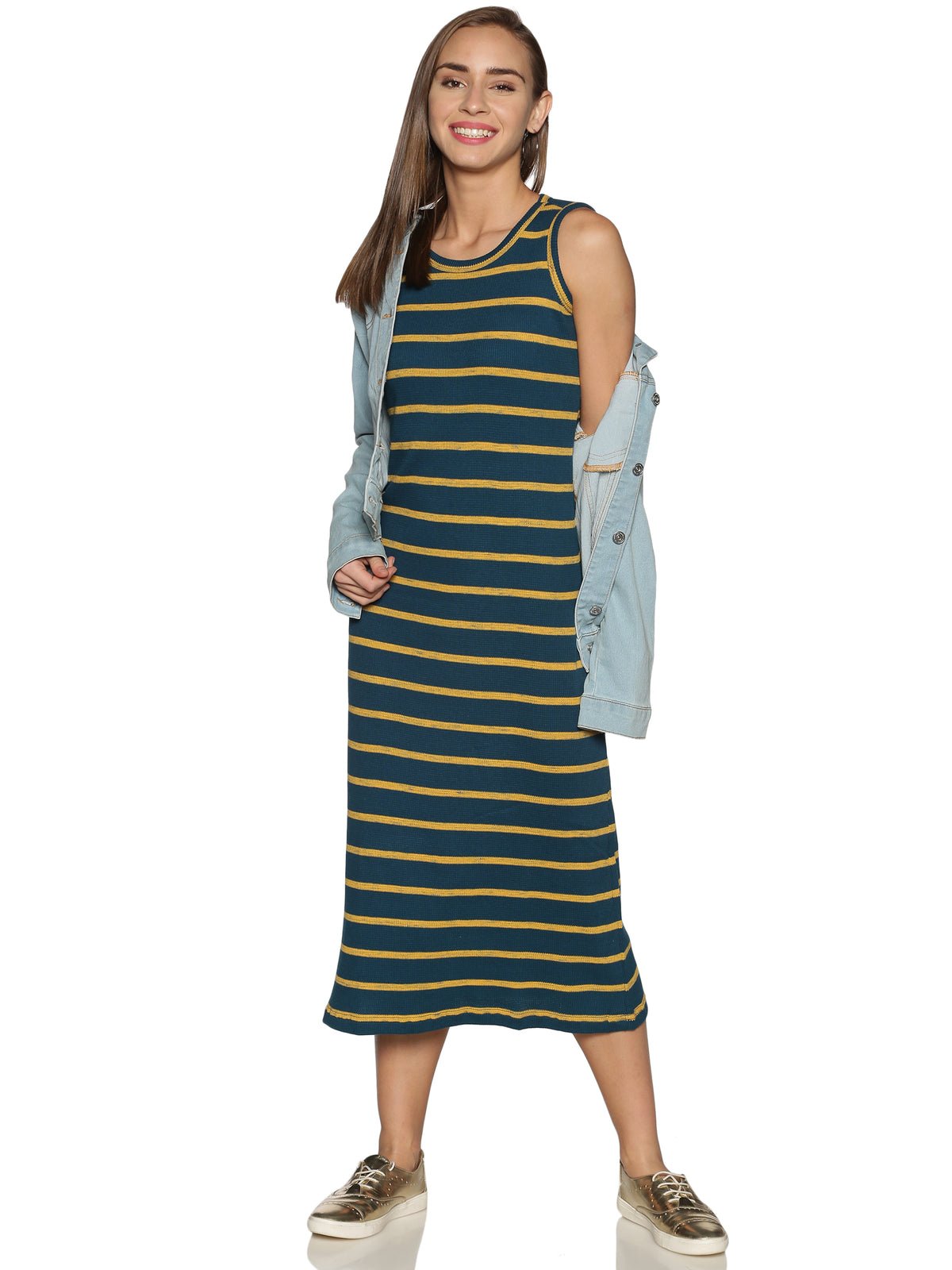 Teal Sleeveless Ribbed Knit Dress