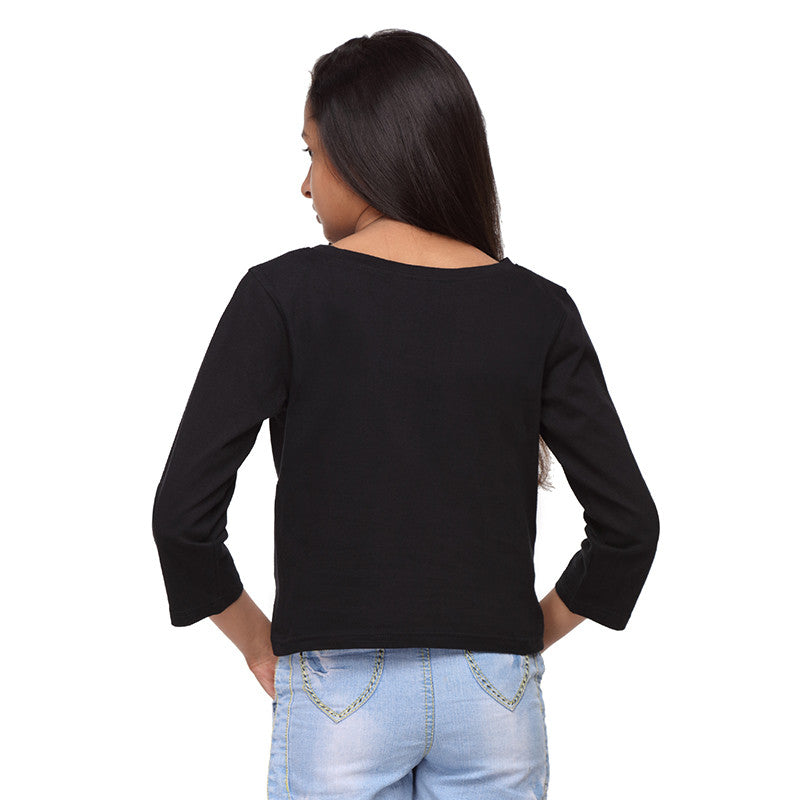 Black Knit Crop Tee   (Stellar) - GENZEE