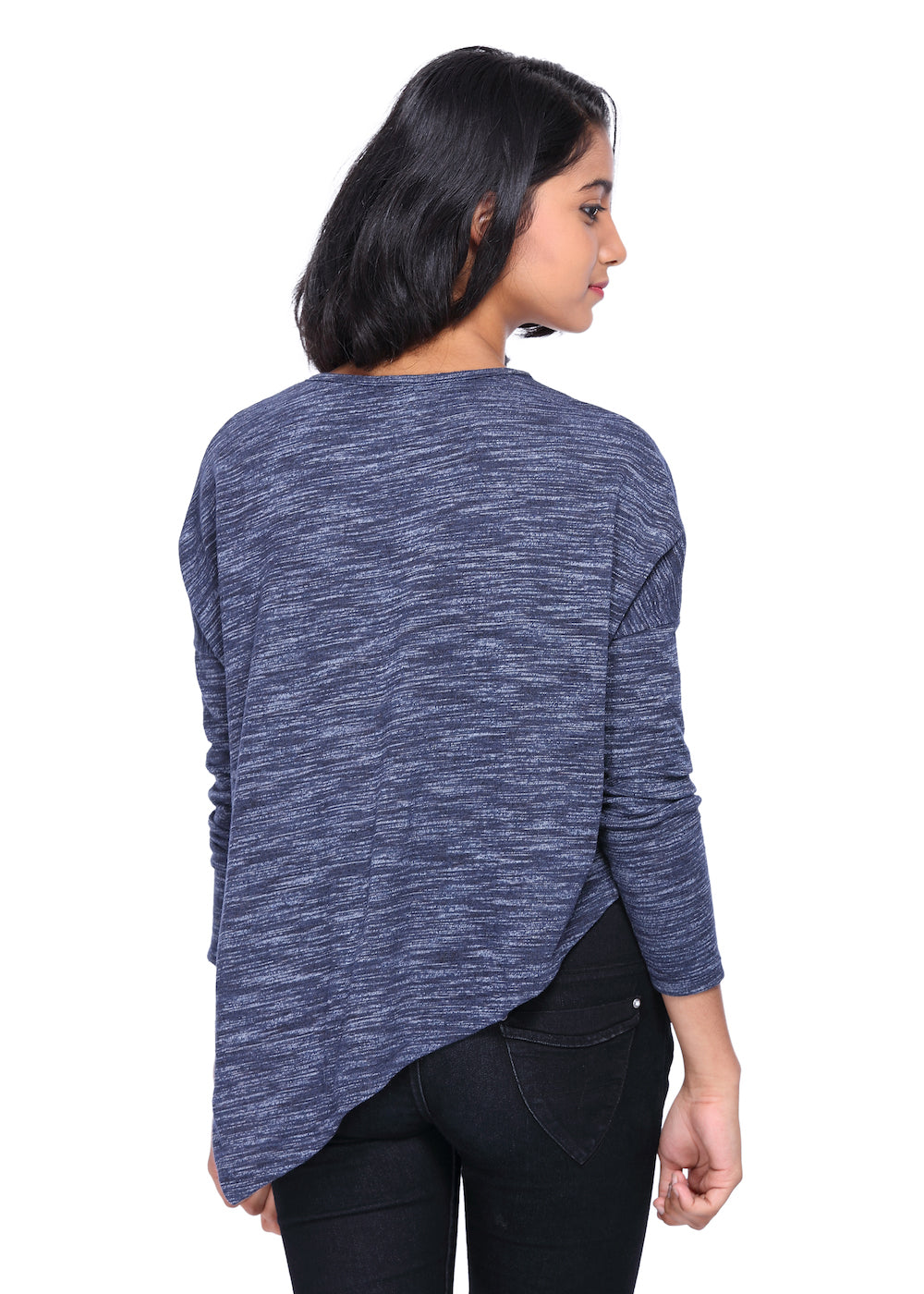 Blue Knit Poncho Top - GENZEE