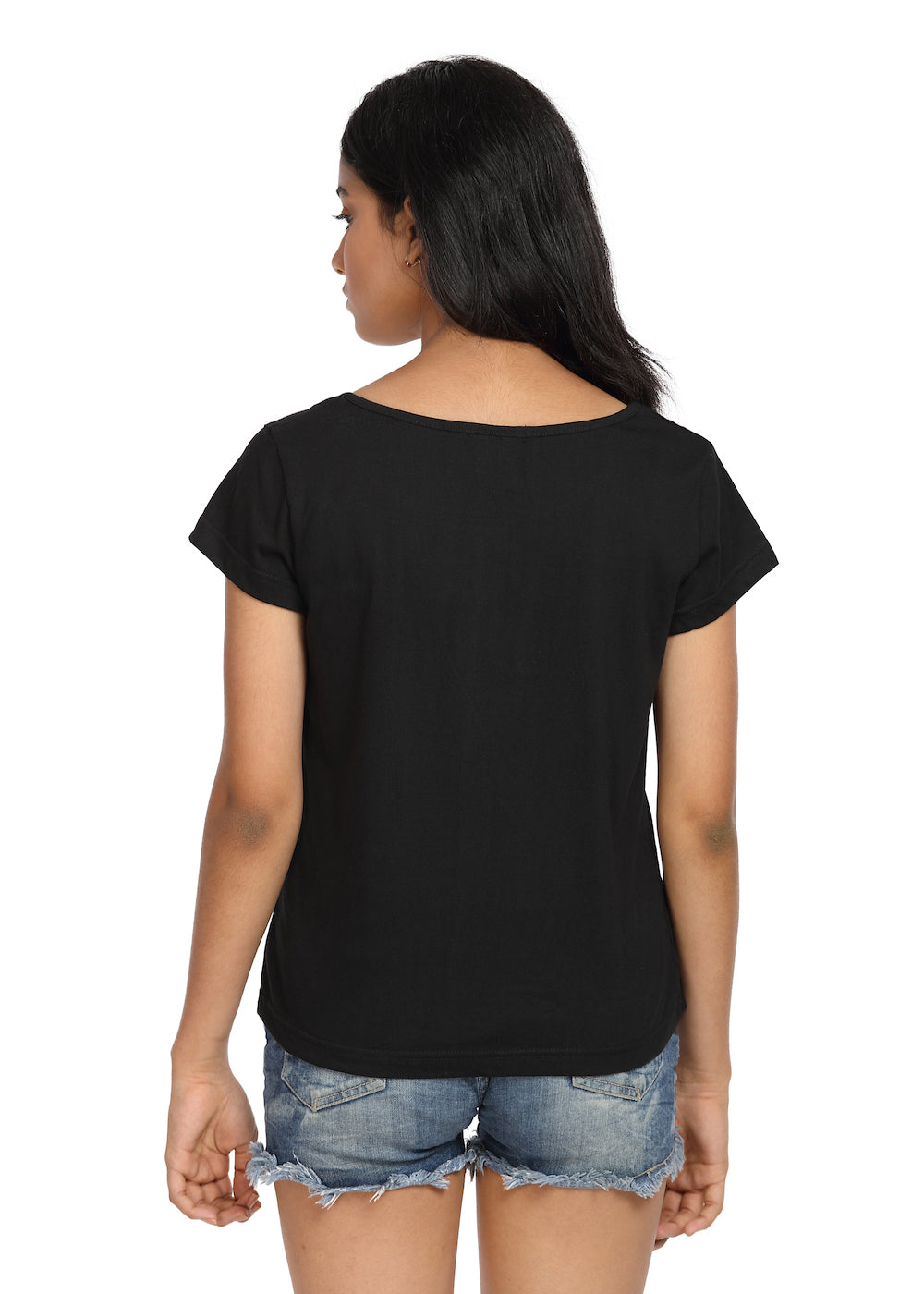 Printed T-shirt Black with Happiness Print - GENZEE