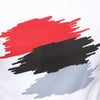 Red and black abastract print on a white Top