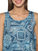 Sleeveless Turquoise Printed Knit Top