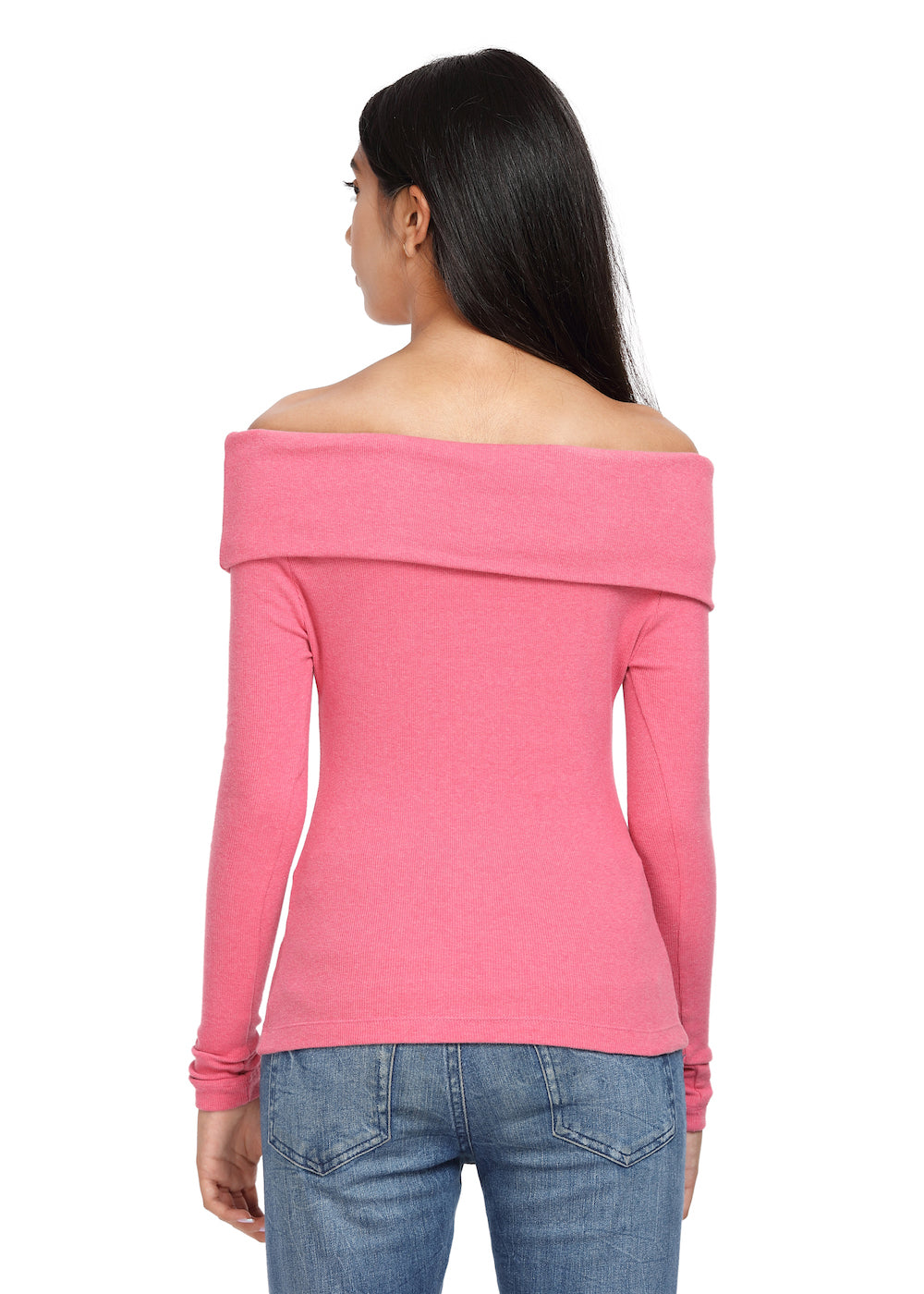 Fold-Over Top Ribbed Pink On/Off Shoulder with Detachable Straps - GENZEE