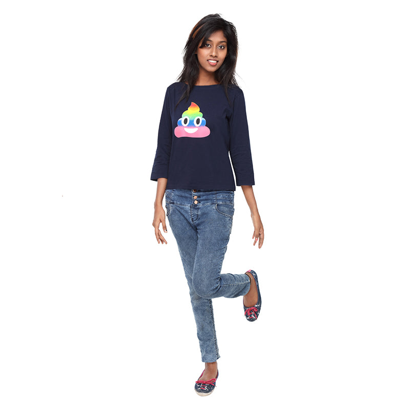 Blue Long Tees Rainbow Emoji - GENZEE