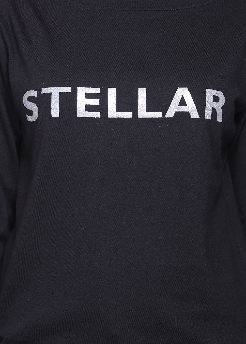 Black Long Tee , Stellar Print in Silver - GENZEE