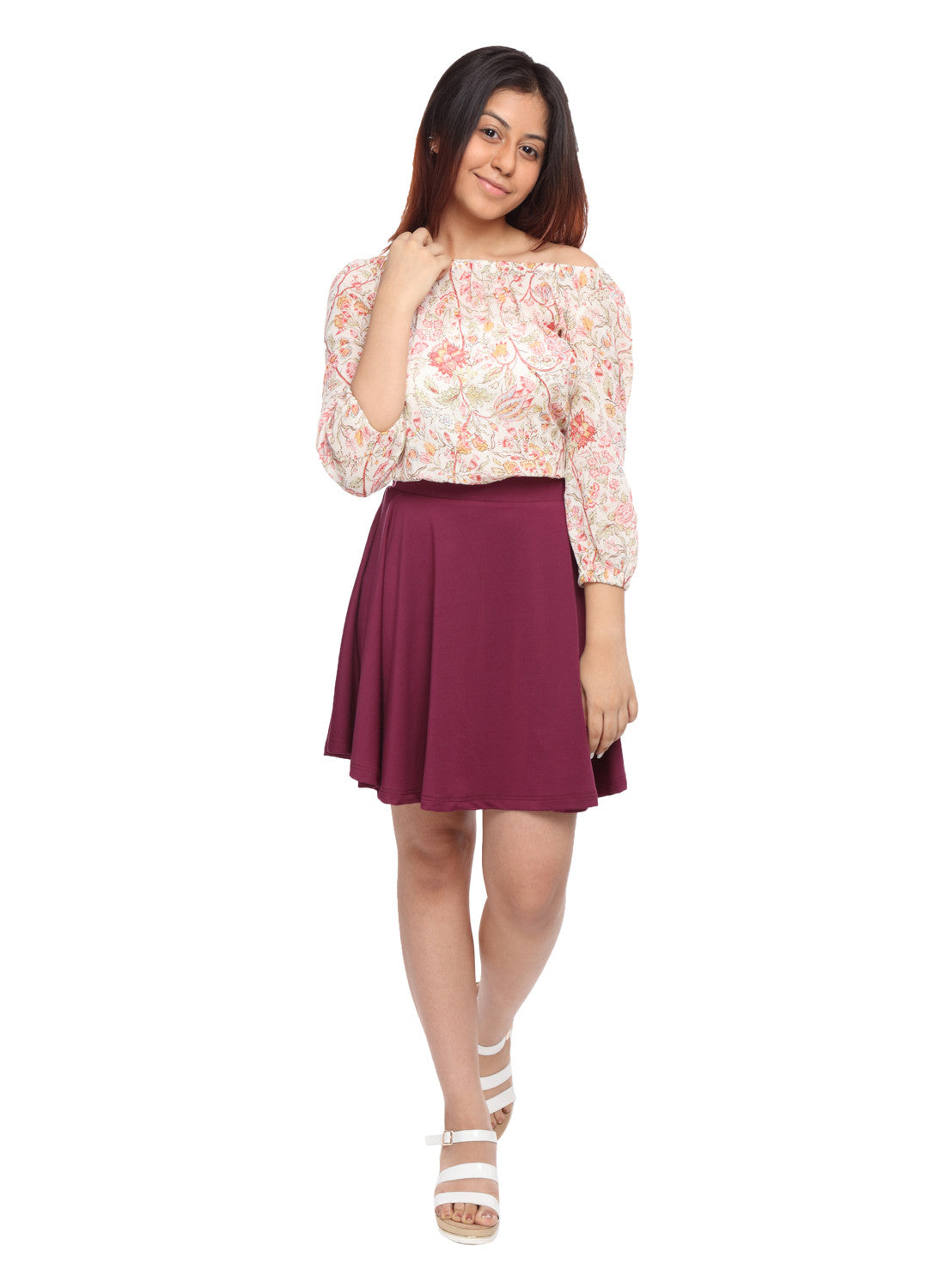 Girls Circle Skirt in Wine colour - GENZEE
