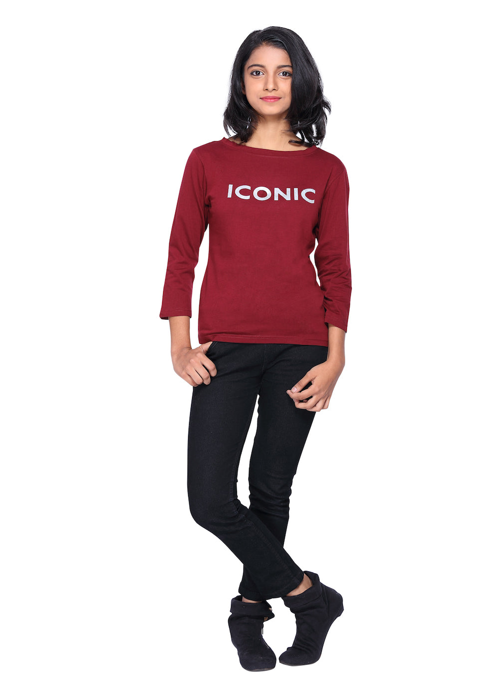 Maroon  Long Tee with silver Iconic Print - GENZEE