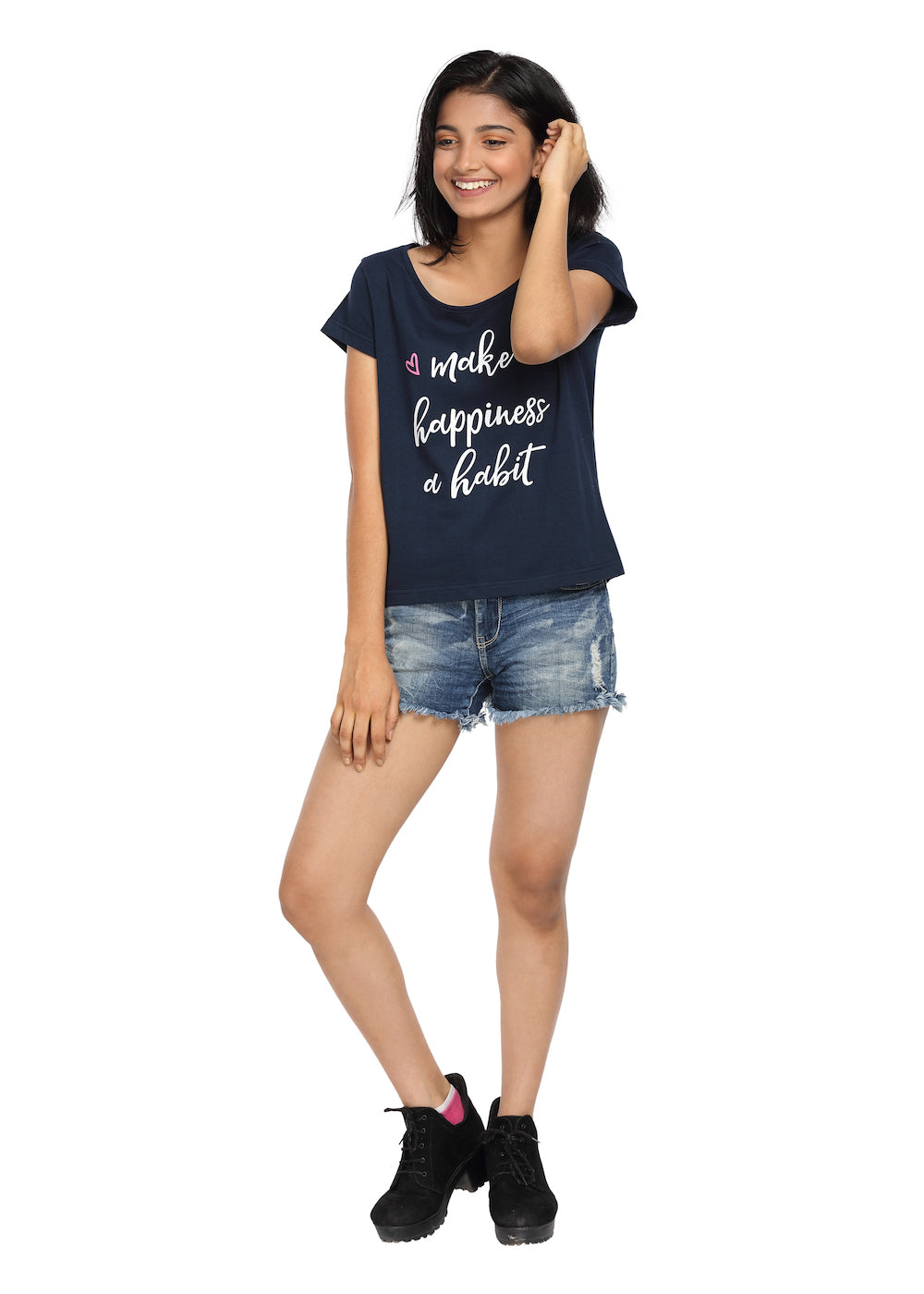 Printed T-shirt Navy Blue with Happiness Print - GENZEE