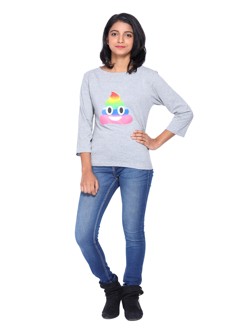 Grey Long Tees Rainbow Emoji - GENZEE